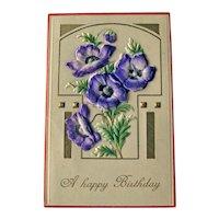 Vintage Art Deco Style Birthday Postcard - Flocked Applied Flowers Postcard - Happy Birthday Card