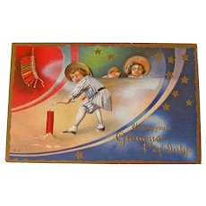 Vintage Fourth of July Postcard - E Nash Patriotic Postcard - Children and Firecrackers