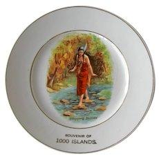 Vintage Indian Maiden Souvenir Plate - l000 Islands Souvenir - Collectible Plate