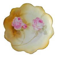 Vintage RS Germany Plate with Hand Painted Roses - RS Germany Scalloped Dessert Plate
