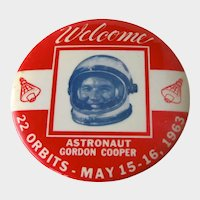 Vintage Gordon Cooper Astronaut Pin - 22 Orbits - Gordon Cooper 1963 - Large Astronaut Pin - History
