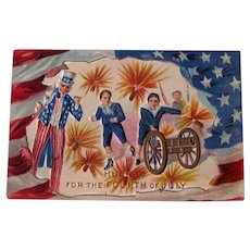 Vintage Fourth of July Postcard - Firecrackers and Uncle Sam - Boys Shooting Canon