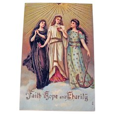 Vintage Faith Hope and Charity Postcard - Religious Postcard - Lovely Ladies
