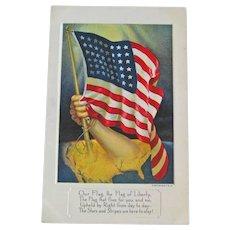 Vintage Patriotic Postcard - American Flag Card - Stars and Stripes
