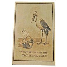 Vintage Stork Postcard - Mismatched Twins - Stork & Co - Copyright E W Gustin