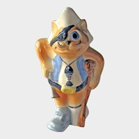 Russian Porcelain Pirate Cat - Cat Figurine - Cat with Eye Patch - Collectible Cat