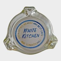 Vintage Glass Advertising Ashtray - White Kitchen Cafe - Livingston's Newest and Best Cafe