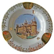 Vintage Ceramic Ashtray Langeais Castle La Loire - Souvenir Ashtray - Collectible Ashtray