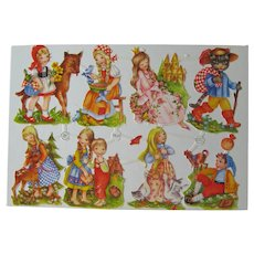 Vintage Die Cut Fairy Tale Sheet - Eight Die Cuts - Red Riding Hood - Sleeping Beauty - Puss and Boots