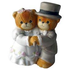 Vintage Teddy Bear Bride and Groom Figurine - Bride and Groom Cutting Cake - Wedding Figurine