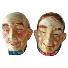 Vintage Old Lady and Old Man Salt and Pepper Shakers - Elderly Couple Shakers