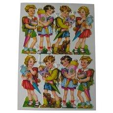 Vintage Die Cut Children with Candy Cones Sheet - Eight Die Cuts - Girls and Boys Die Cuts