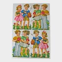 Vintage Die Cut Children Sheet - Eight Die Cuts - Girls and Boys Die Cuts - Girl with Doll