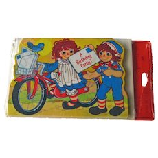 Vintage Raggedy Ann and Andy Hallmark Birthday Party Invitations - Raggedy Ann on Bicycle