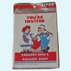 Vintage Raggedy Ann and Andy Birthday Party Invitations - Invitations from 1988 - Collectible Raggedy Ann