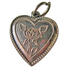Vintage Sterling Heart Charm - Sterling Heart with Rose Decoration