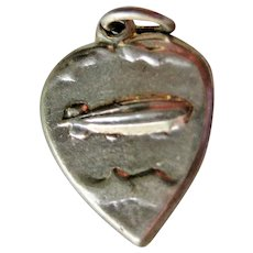 VERY RARE Vintage Sterling Heart Charm with Blimp - Zeppelin - Dirigible