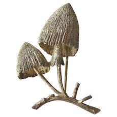 Vintage Designer Les Bernard Sterling Mushroom Pin -  Sterling Vermeil Brooch - Figural Pin