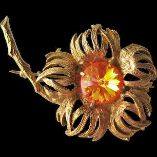 Vintage Designer Hattie Carnegie Large Flower Pin - Pink and Orange Iridescent Rivoli Stone