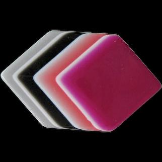 Vintage Lea Stein Laminated Cellulose Acetate Geometric Pin - Lea Stein Paris France