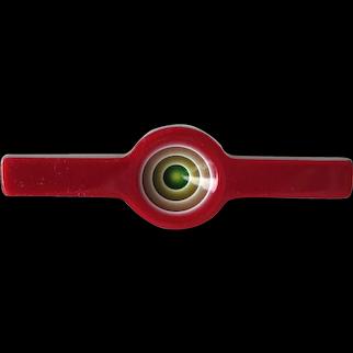 Vintage Lea Stein Laminated Cellulose Acetate Geometric Pin - Lea Stein Paris France Bullseye Bar Pin