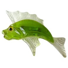 Vintage Reverse Carved Lucite Fish Pin - Green and Clear Lucite Fish