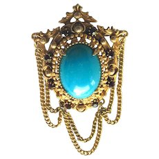Florenza Pin with Turquoise Colored Stone and  Draping Chains - Signed Brooch