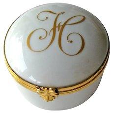 Vintage Limoges Box - Initial H Box - Signed Limoges France Porcelain Box