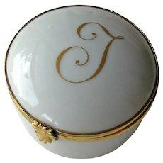 Vintage Limoges Box - Initial J Box - Signed Limoges France Porcelain Box