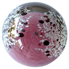 Vintage Pink Swirl and Confetti Glass Paperweight - Incised Flower Signature - Collectible Paperweight