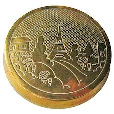 Vintage Bonne Bell Rouge Compact - Brass Compact Paris Scene - Eiffel Tower