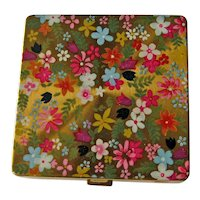 Vintage Vogue Cosmetics Compact - Colorful Enamel Flowers - Made in England - Collectible Compact