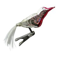 Vintage Glass Clip-on Bird Christmas Ornament Bristle Tail - Collectible Christmas