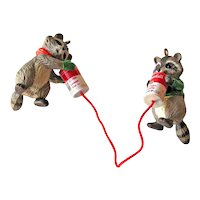 Vintage Hallmark Ornament Party Line - Raccoons Talking on Tin Can Telephones - Campbell Soup