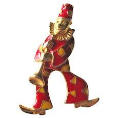 Vintage  Enamel Clown Pin - Articulated Clown Pin - Figural Pin  - Clown Playing Horn