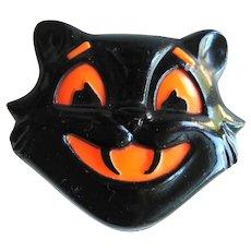 Vintage Black Cat Cricket Toy - Halloween Plastic Cricket - Collectible Halloween