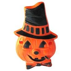 Vintage Jack-o-lantern with Black Hat Decoration - Pumpkin Decoration