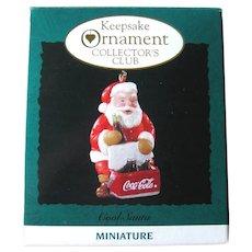Cool Santa Collector's Club Ornament - Vintage Hallmark Miniature Ornament - Coca-Cola