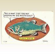 Humorous Fishing Postcard by Bob Petley Copyright 1953