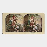 Lithograph Stereo View of Boys Playing Hooky and Stealing Milk