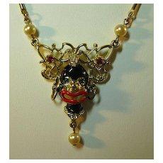 Blackamoor Necklace with Rhinestone Accents