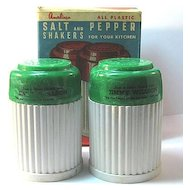 Large Green and White Plastic Shakers with Original Box