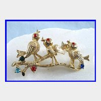 Gerry's Chirping Birds on a Branch Pin Brooch Adorned with Colorful Rhinestones