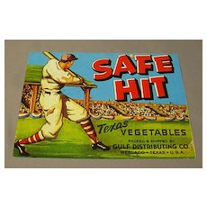 Safe Hit Vegetable Crate Label from Texas - Baseball Player Game
