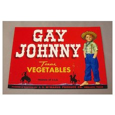 Gay Johnny Vegetable Crate Label - Texas Cowboy
