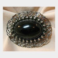Elegant Sterling and Black Glass or Onyx Pin Made in Mexico