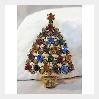 Bright and Beautiful Eisenberg Ice Christmas Tree Pin - Holiday Pin - Rhinestone Tree Pin - Gift for Her