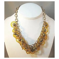 Unique Necklace with Brass or Brass-like Beads and Amber Rings