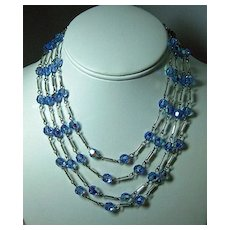 Unique Crystal and Silver-tone Four Strand Necklace