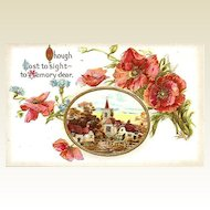 Heavily Embossed Memory Postcard with Poppies and Cameo Vintage Village Scene